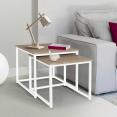 Lot de 2 tables basses gigognes DETROIT design industriel bois et métal blanc