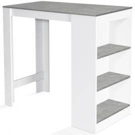 Table de bar Barth 2 à 4 personnes bois blanc plateau effet béton