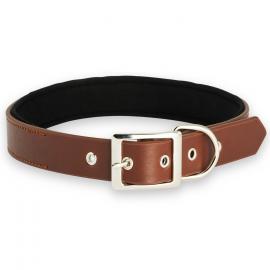 Collier marron ajustable ultra confort pour chien taille de cou L 50-60 cm