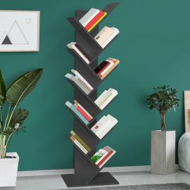 Etagère bibliothèque à livres forme d'abre 10 niveaux grise