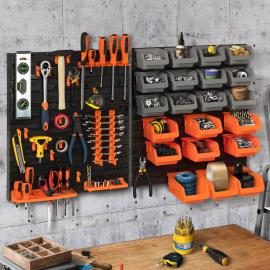 Kit de rangement mural 45 pièces panneau perforé et porte-outils