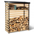 Abri de stockage en bois pour bûches toit incliné et étagère