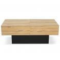 Table basse coulissante MARTA bois noir et imitation hêtre