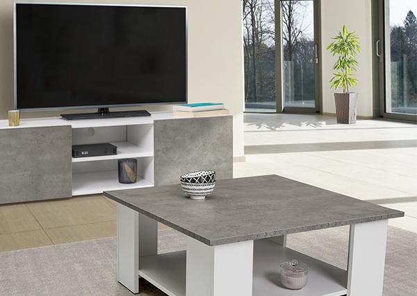 Meuble TV + Table basse blanche ELI effet béton
