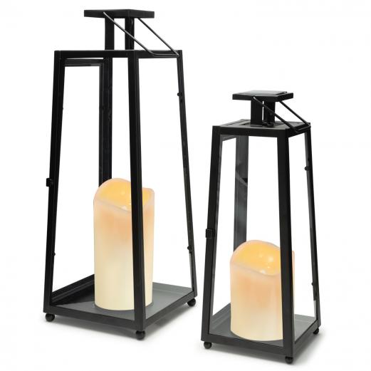 Lot de 2 lanternes solaires métal noir bougies à LED 30 et 40 cm