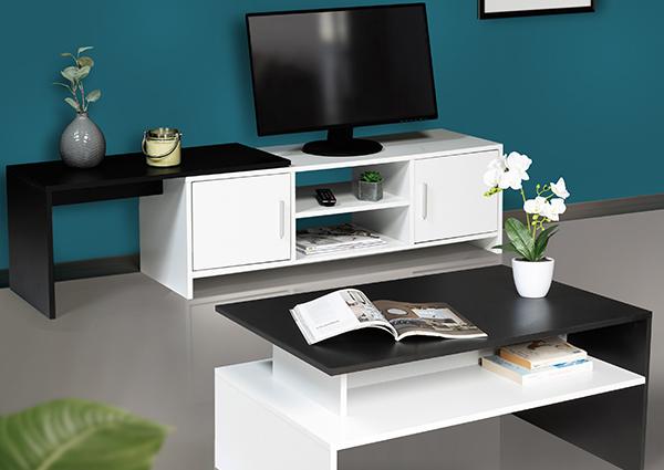 Lot table basse + meuble TV GABI blanc et noir