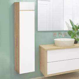 Meuble colonne suspendu 114 cm façon hêtre portes blanches pour salle de bain LILA