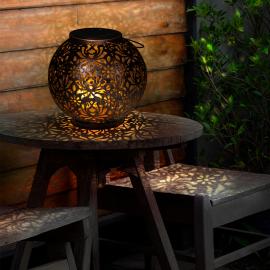 Lanterne solaire à LED effet cuivré lampe boule orientale
