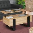 Table basse plateau relevable PHOENIX bois et noir