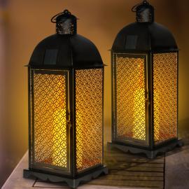 Lot de 2 lanternes solaires métal noir bougies à LED motif oriental