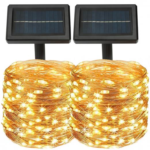 Lot de 2 guirlandes solaires 240 LED lampes extérieures étanches
