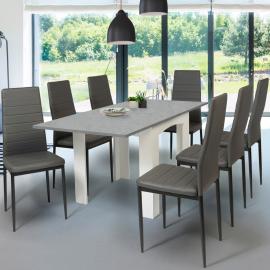 Table à manger extensible DONA 6-8 personnes plateau béton ciré 80-160cm