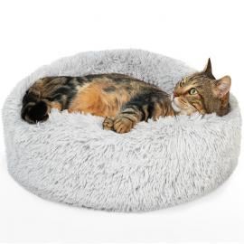Coussin rond pour chat 60 CM panier gris clair ultra doux