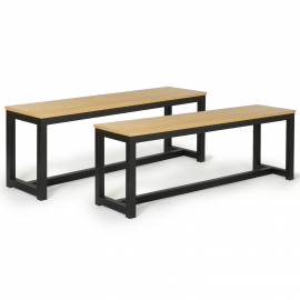 Lot de 2 bancs DETROIT 135 cm pour table à manger