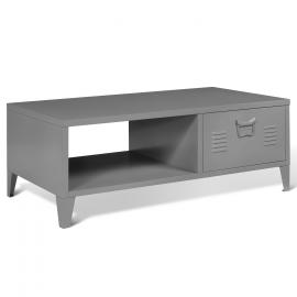 Table basse 1 porte ESTEL en métal gris foncé