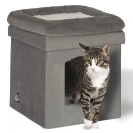 Maison niche grise pliable pour chat coussin intérieur doux