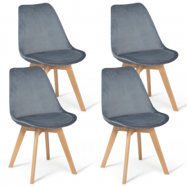 Lot de 4 chaises SARA en velours gris