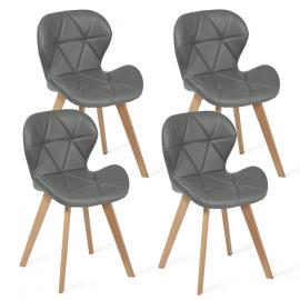 Lot de 4 chaises ROBINE gris foncé pour salle à manger