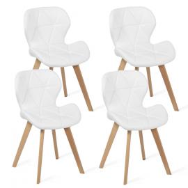 Lot de 4 chaises ROBINE blanches pour salle à manger