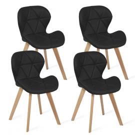 Lot de 4 chaises ROBINE noires pour salle à manger