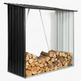 Abri de stockage 2 m³ gris en acier galvanisé pour bûches