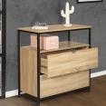 Commode 2 tiroirs DETROIT design industriel avec étagère