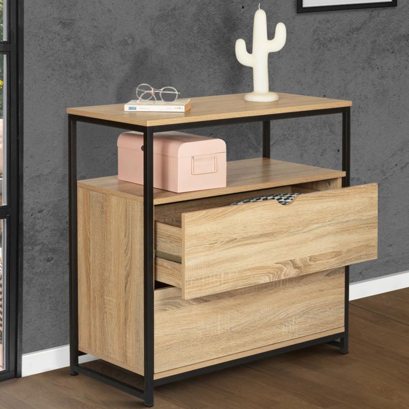 commode 2 tiroirs detroit design industriel avec etagere