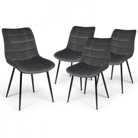 Lot de 4 chaises MADY en velours gris pour salle à manger