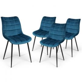 Lot de 4 chaises MADY en velours bleu pour salle à manger