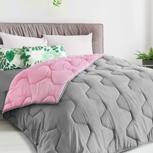Couette bicolore rose et gris 200x200 CM 300 gr