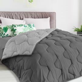 Couette bicolore gris foncé et gris 200x200 CM 300 gr