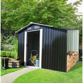 Abri de jardin avec abri bûches 6,8M² gris en acier galvanisé