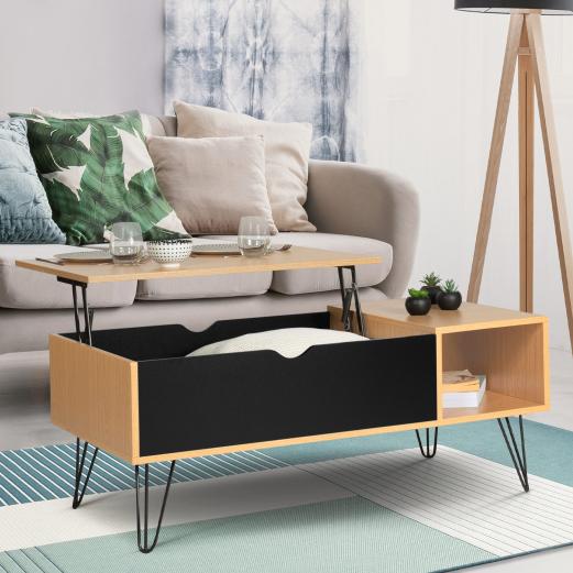 Table basse plateau relevable NOEMI bois pieds épingle