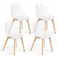 Lot de 4 chaises MANDY blanches pour salle à manger