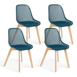 Lot de 4 chaises MANDY bleu canard pour salle à manger
