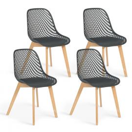 Lot de 4 chaises MANDY grises pour salle à manger