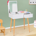 Coiffeuse enfant scandinave ELIZA blanche miroir rabattable
