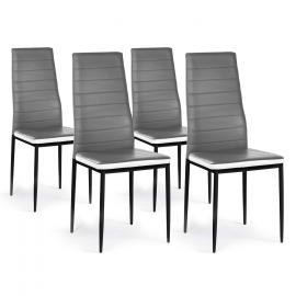 Lot de 4 chaises ROMANE grises bandeau blanc pour salle à manger