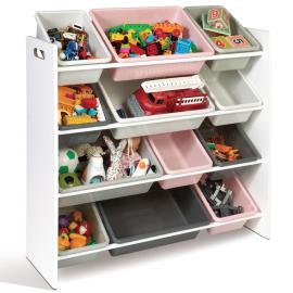 Etagère rangement jouets 4 niveaux rose