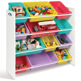 Etagère rangement jouets 4 niveaux multicolore