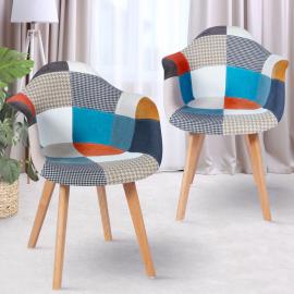 Lot de deux fauteuils motifs patchworks multi-couleurs