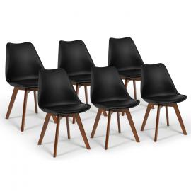 Lot de 6 chaises SARA noires pieds foncés pour salle à manger