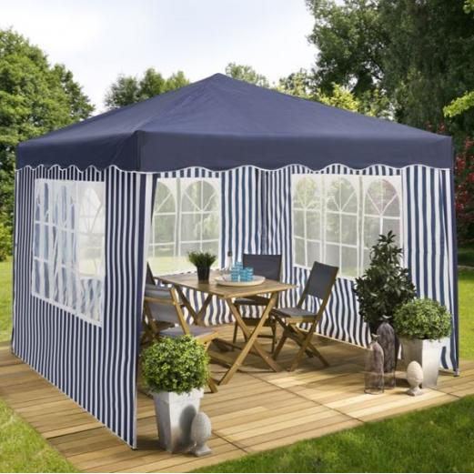chapiteau pliable ray bleu blanc 3x3 m 3 murs tente de. Black Bedroom Furniture Sets. Home Design Ideas