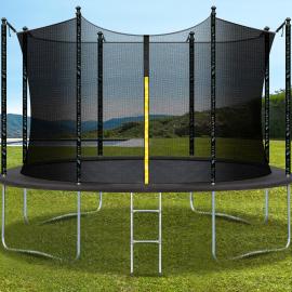 Trampoline pliable gris diamètre 396 cm avec échelle