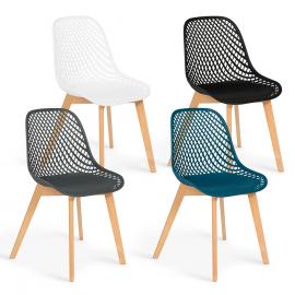 Lot de 4 chaises MANDY mix color blanche, bleu canard, grise et noire