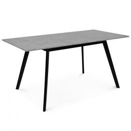 Table scandinave extensible INGA 120-160 CM plateau béton ciré pieds noirs