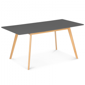 Table scandinave extensible INGA 120-160 CM plateau gris anthracite pied bois