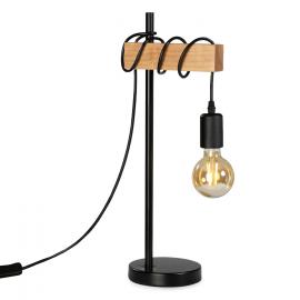 Lampe de chevet métal et bois design industriel