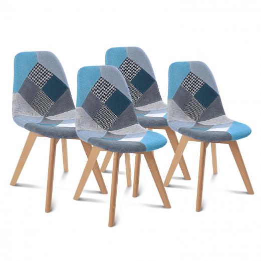 Lot de 4 chaises SARA motifs patchwork bleus