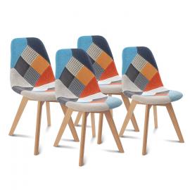 Lot de 4 chaises SARA motifs patchwork multi-couleurs